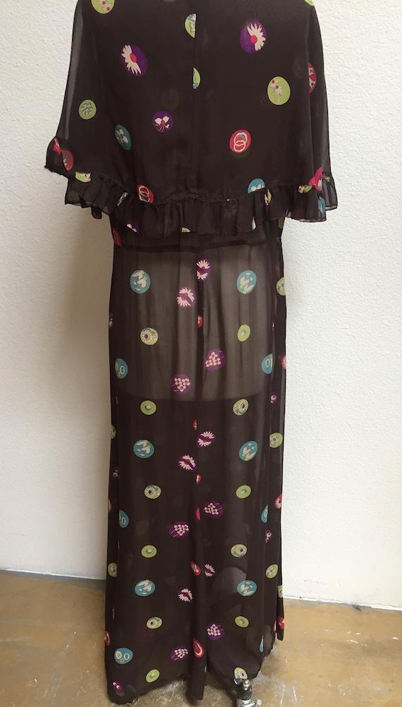 1920s-1930s Printed Silk Chiffon Ruffle Bib Dress - image 5