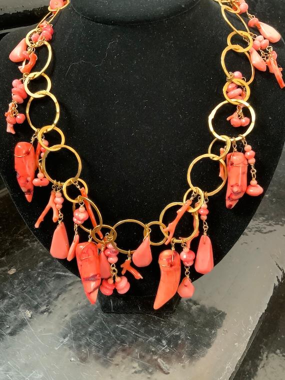 Vintage Pink Coral and metal Necklace 70s 80s brut