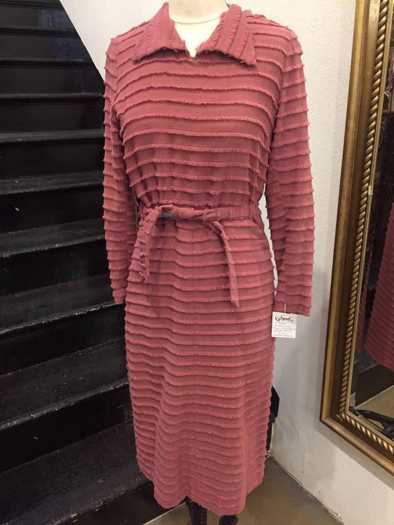 1930s Dusty Rose EyeLash Fringe Dress