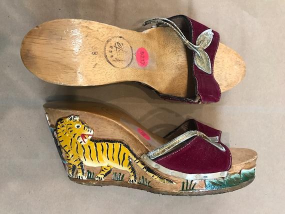 1940s Carved Tiger Wooden Heels