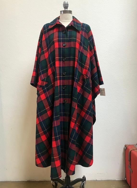 1970s Pendleton Plaid Poncho Coat