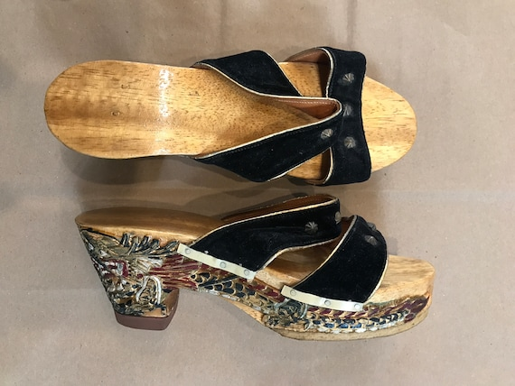 1940s Carved Dragon Wooden Heels