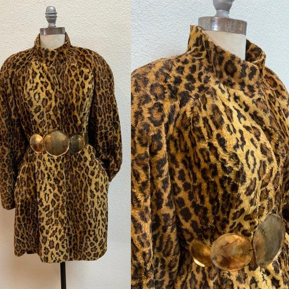 Vintage Faux Leopard Fur Coat 1980s does 40s
