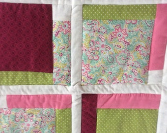 Baby Girl Quilt, Flowers and Polka Dots, Pink and Teal Quilt, Green and Pink Quilt, Pretty Quilt Colors