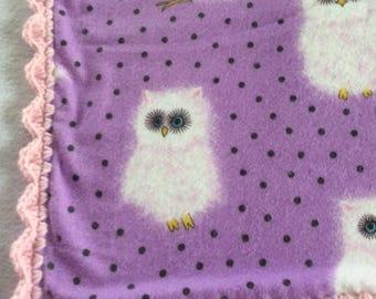 Receiving Blanket, Crocheted Edging Blanket, Snow White Owl, Adorable Owl Blanket, Baby Girl Blanket, Newborn Receiving Blanket, Shower Gift