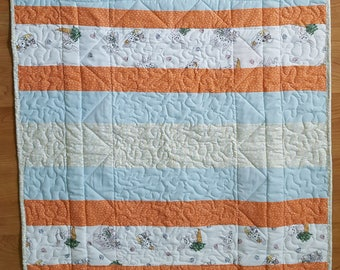 Bunny Quilt, Springtime Quilt, Storybook Time Quilt, Butterfly Quilt,Cabbage Rose Quilt, Baby Girl Quilt, Newborn Girl Quilt, Handmade Quilt