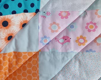 Modern Quilt, Flowers Quilt, Birds Quilt, Polka Dot Quilt, Girl Quilt, Daisy Quilt, Special Baby Quilt, Just Because Gift, Pretty Pastels