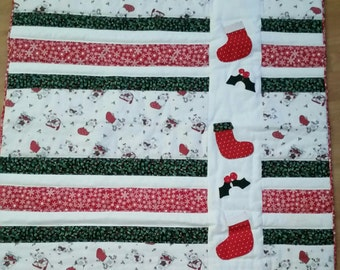 Christmas Quilt, Christmas Bear Quilt, Snowflake Quilt, Bear Quilt, Christmas Stocking, Ice Skating Bear, Holly Berries Quilt, Adorable