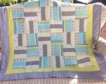 Baby Boy Quilt, Giraffe Quilt, Bluebird Quilt, Polka Dot Blanket, Gender Neutral Quilt, Blue Giraffe Quilt, Baby Girl quilt