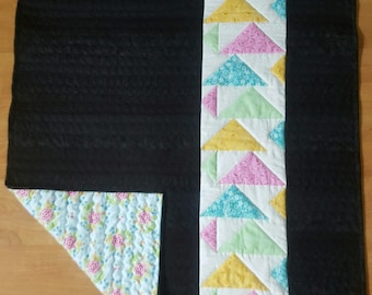 Bold & Black Quilt, Flying Geese Quilt, Modern Quilt, Bright Colors Quilt, Gender Neutral Quilt, Lap Quilt, Triangles Quilt, New Day Quilt