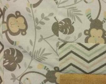 Monkey Quilt, Jungle Quilt, Gender Neutral Quilt, Swinging Monkey Quilt, Heart Quilt, Monkeys and Bananas, Chevron Quilt, Log Cabin Quilt