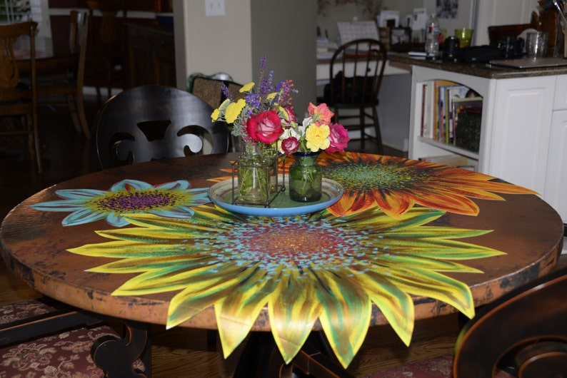 tablecloth painted flower home decor Daisy table linen centerpiece placemat runner Dallas Daisy table cloth kitchen