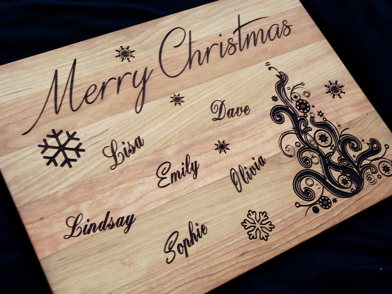 Perfect Christmas gift Merry Christmas Personalized Family hardwood cutting board 11x15 Customize for your own family members.