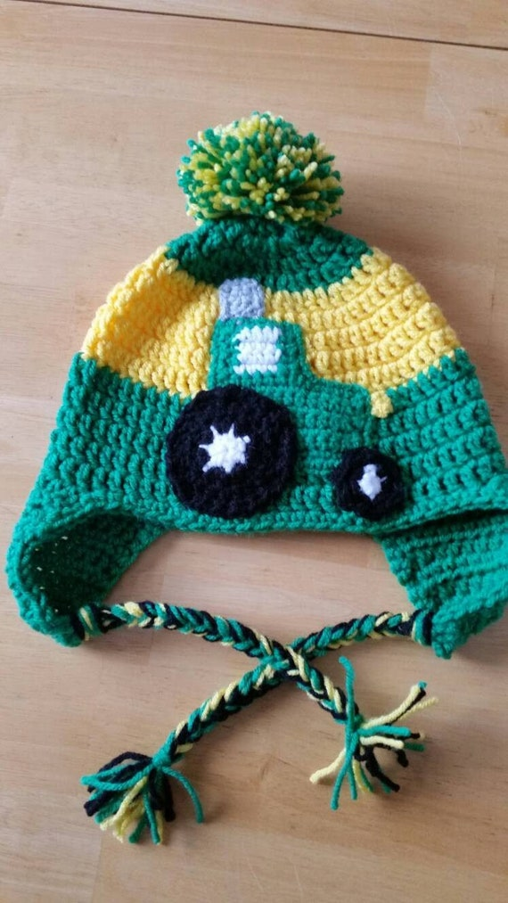 Tractor Ear Flap Hat. Kelly green and Yellow. Sizes infant  26c676fe626e