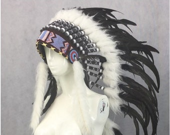 native america headdress / red indian feather heargear / burning man / feather headdress / Burning man headgear