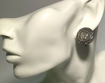 vintage chanel silver earring silver with coco gabrielle chanel head shot