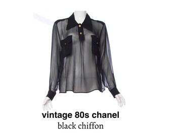 vintage 1980s chanel shirt black chiffon female shirt