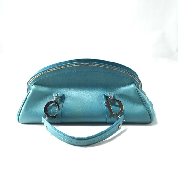 Christian Dior Blue Leather Tote Bag