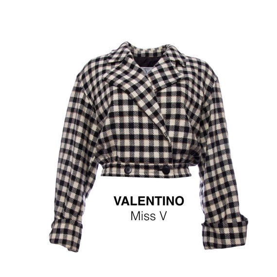 90s vintage valentino jacket double breasted check