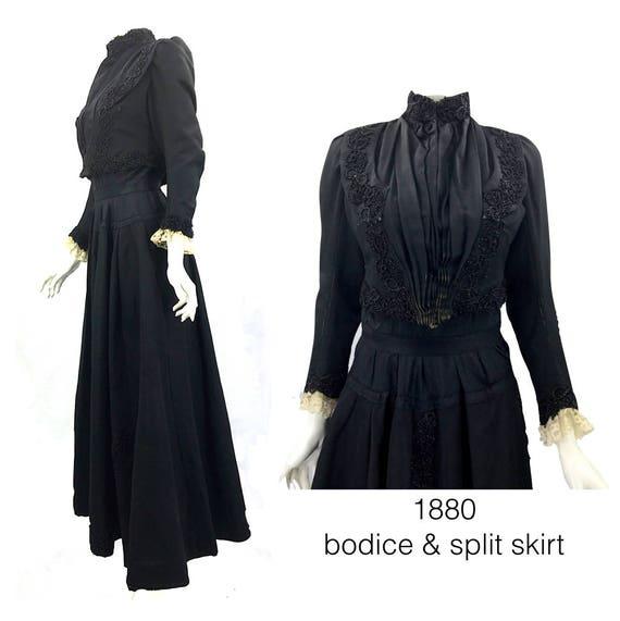 1880 Victorian Bodice and Split Skirt, 100% Hand S