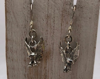 Animal Avian Earrings Patriotic Flying Eagles Earrings Eagle Birthstone Earrings Personalized Bird Earrings