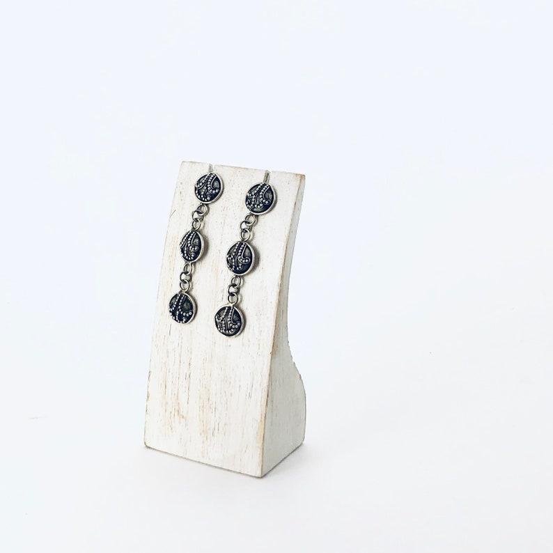 Sterling Silver Long Round Stud Earrings