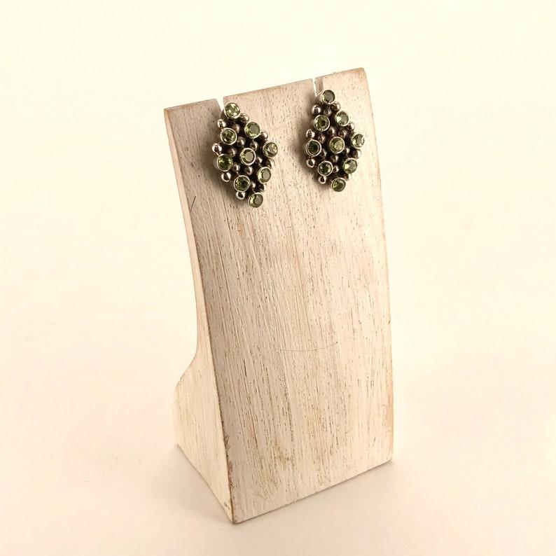Light green rhombus peridot stone sterling silver earrings
