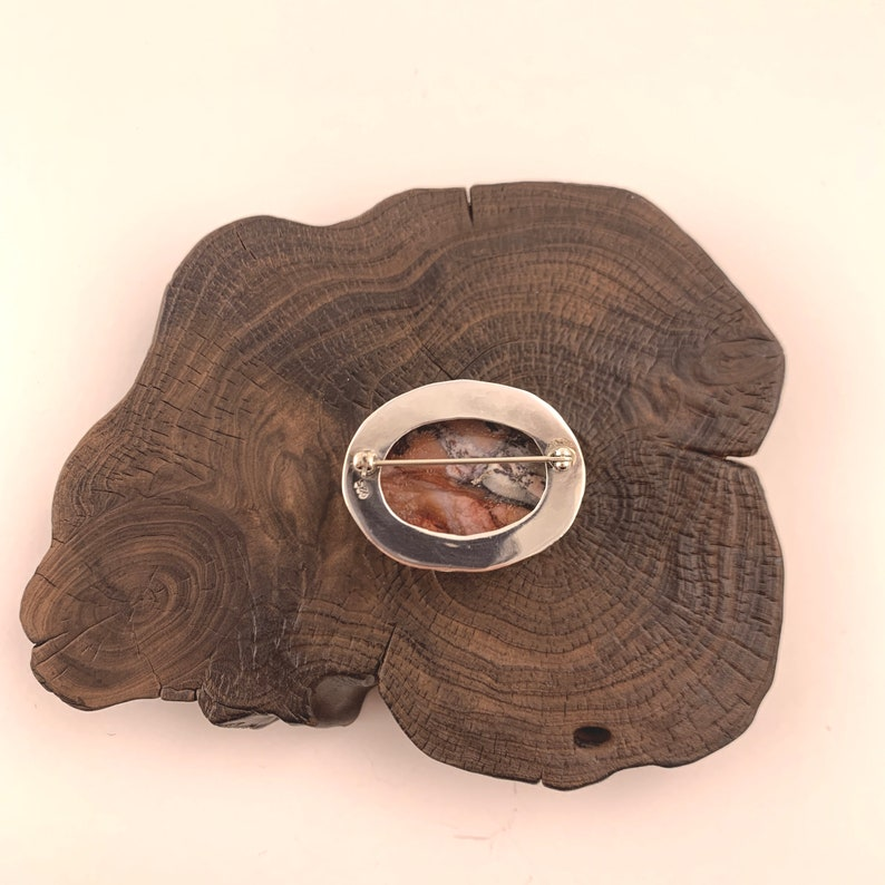 Silver Agate Brooch Beautiful Natural Agate Brooch Earth Tones Sterling Silver Brooch