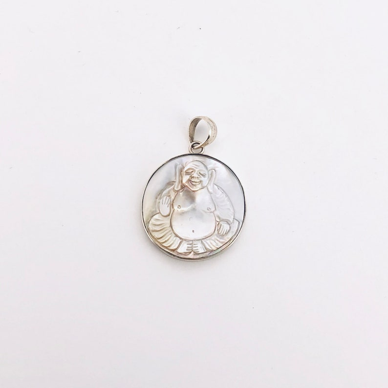 Happy Buddha Pendant in Light Grey Mother of Pearl and Sterling Silver