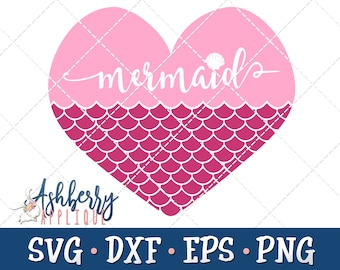 Mermaid Heart SVG/DXF Cut File - Instant Download - Vector Clipart - Iron On Shirt Decal - Cricut - Silhouette - Mermaid - Mermaid Tail