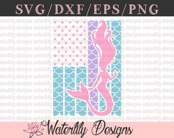 Mermaid American Flag SVG/DXF Cut File - Instant Download - Vector Clipart - Iron On Shirt Decal - Cricut - Silhouette - Mermaid Scales
