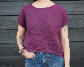 LARKSPUR TOP   100% linen   cropped top   handmade   relaxed fit   curved hem   wardrobe staple   minimalist   slow fashion   natural