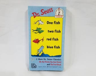 Vintage VHS Dr. Seuss One Fish, Two Fish, Red Fish, Blue Fish plus Oh, the Thinks You Can Think! and The Foot Book - 30 min, color