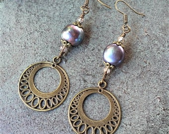 Purple Dangle Freshwater Pearl Earrings, Bronze Wire-Wrapped Earrings, Purple Wire Earrings, Round Filigree Earrings