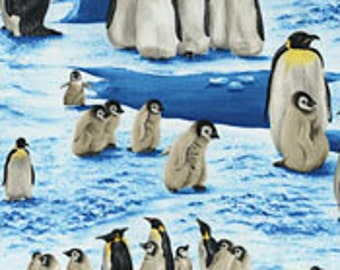 Penquins On Fabric-Fabric With Penquins