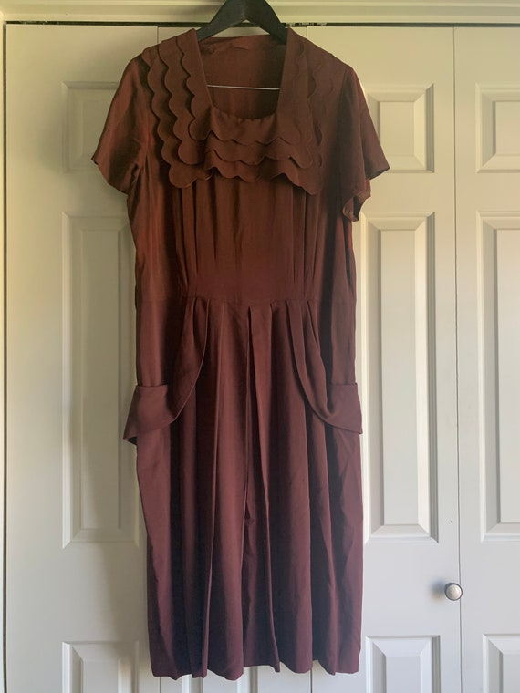 1940s Chocolate Brown Dress (VOLUP!) - image 1