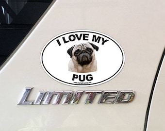 Oval Dog Breed Picture Car Magnet Bumper Sticker Decal I Love My Puggle