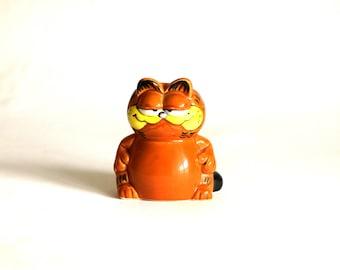 Garfield Toothpick Holder Ornament - 1978 & 1981 Vintage Retro Enesco Orange Cat Pencil Holder Figurine - United Feature Syndicate