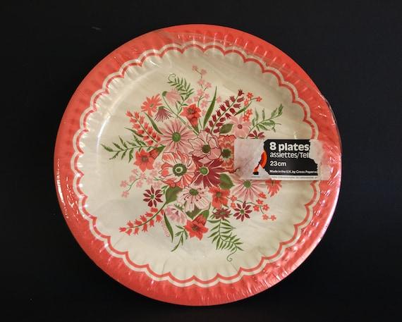 Floral Party Paper Plates Vintage Retro Pink Flowers Bouquet Etsy