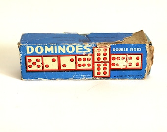 Dominoes Double Sixes - Vintage 60s Chad Valley Company Tiles Games - Made in England - Complete!