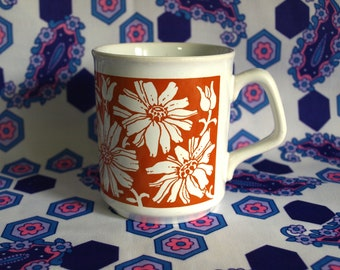 Flower Power Orange Mug - Vintage Retro Tams Daisy Chrysanthemum Coffee Cup - Made in England