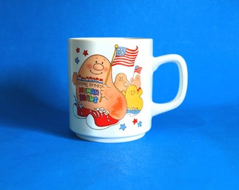 America Grows Great Human Beans Mug - Vintage Retro 1983 Have You Hugged a Human Bean Today? Coffee Cup - Made by Enesco