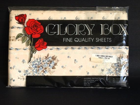 Blue Floral Single Bed Flat Sheet Glory Box Flower Boho Chic Etsy