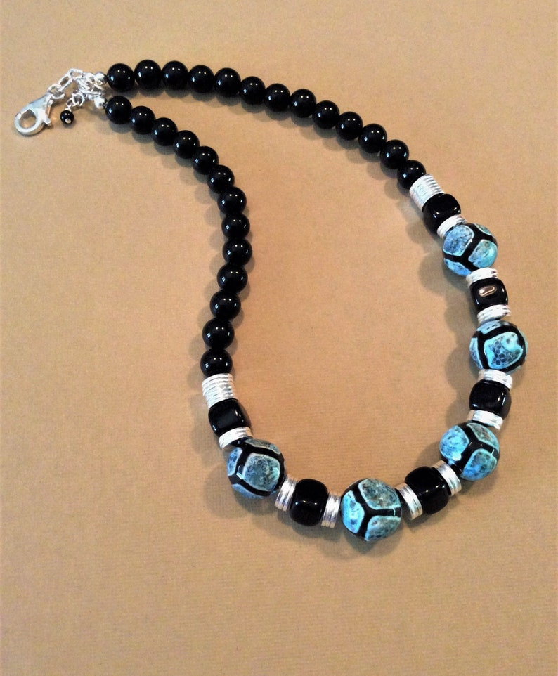 Handmade Gemstone Necklace Tribal Necklace Cracked Agate Giraffe Pattern Sterling Silver Onyx Jewelry