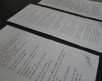 Hand-Typed & Signed Isabelle Hyde Lyrics
