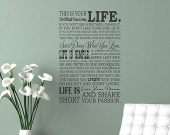 This is your lIFE, Do what you love, LIFE, Life is Simple, Live your Dream, Simple Life, Life Is, Wall Lettering, Willow Creek Design Co