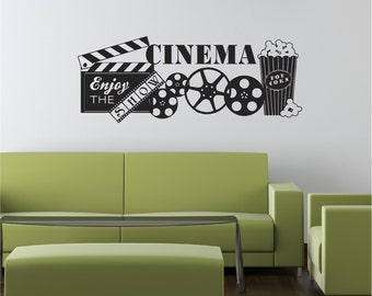 Cinema Theater Show Movie Popcorn Home Decor Wall Graphic Decals Art Reel
