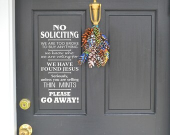 No Soliciting, No Soliciting Decal, Thin mints, Jesus, Please Go Away, Wall Decal, Vinyl Wall Decal, Custom, Willow Creek Design Co