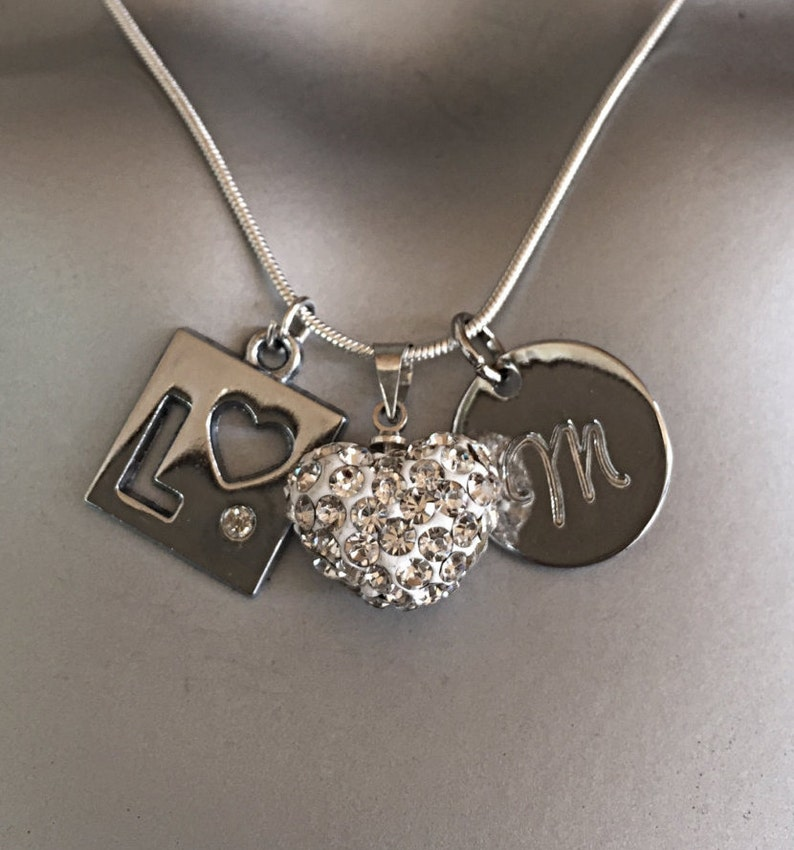 Letter Necklace 5sos Inspirational Necklace Initial Necklace Handstamped Necklace White Heart Necklace -Teen Gift Personalized