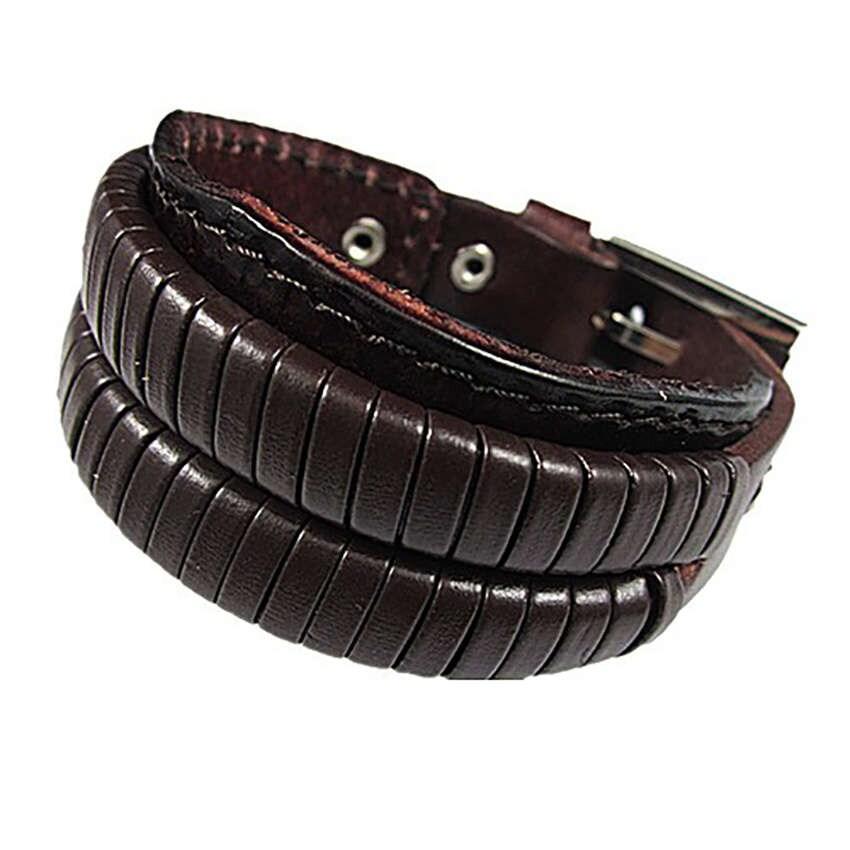 Bracelet pour homme double couche de pellicule bracelet cuir etsy - Couche pour adulte homme ...